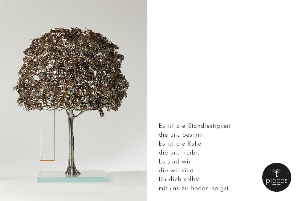 Tim Bardel - Pieces 2014 - handgefertigte Edelstahlbäume - #1 Gedicht - Es ist die Standfestigkeit, die uns besinnt. Es ist die Ruhe die uns treibt. Es sind wir die wir sind. Du dich selbst mit uns zu Boden neigst.